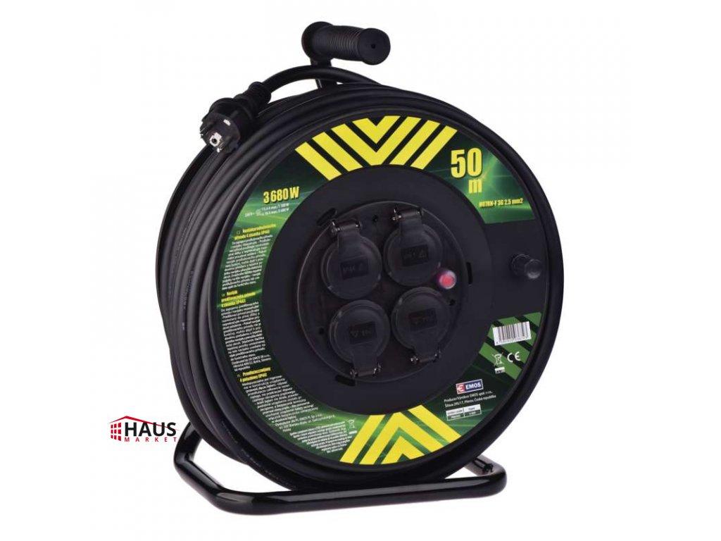 Gumový predlžovací kábel na bubne – 4 zásuvky, 50m, 2,5mm2 P084503