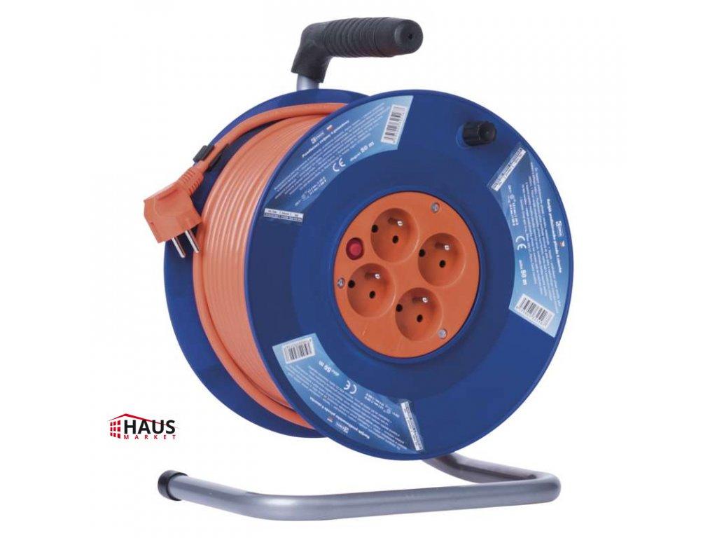 PVC predlžovací kábel na bubne – 4 zásuvky, 50m, 1,5mm2 P19450