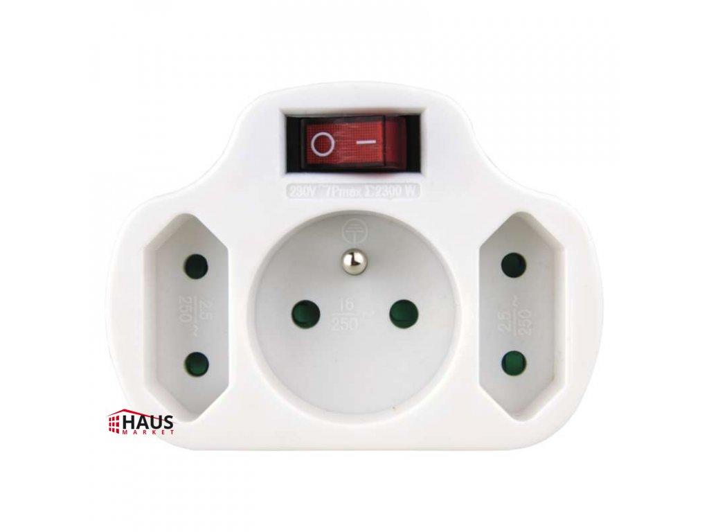 Rozbočovacia zásuvka 2× plochá +1× guľatá s vypínačom, biela P0029