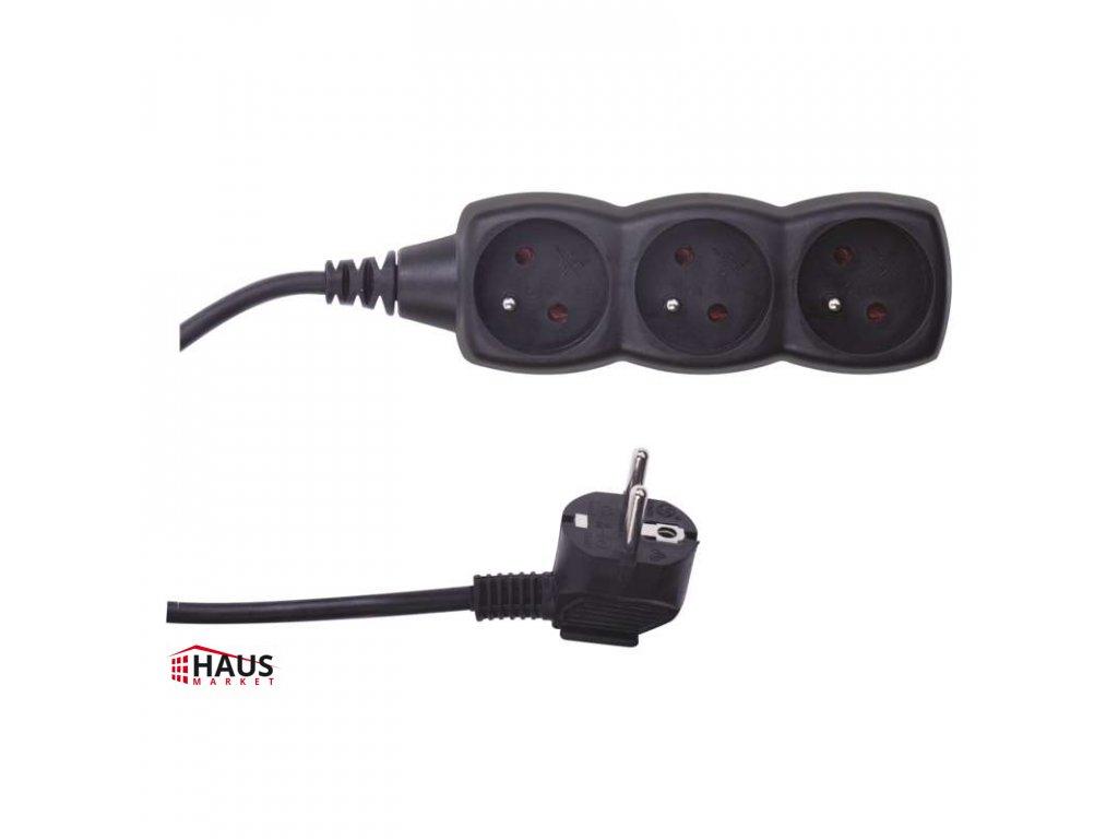 Predlžovací kábel – 3 zásuvky, 5m, čierny PC0315