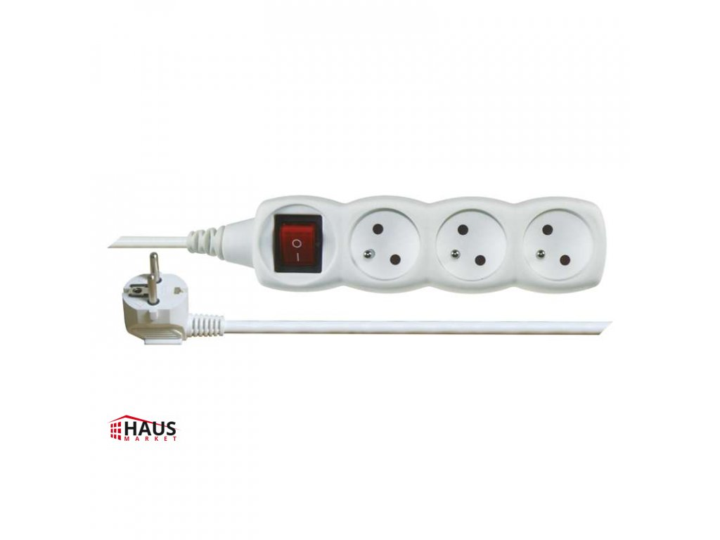 Predlžovací kábel s vypínačom – 3 zásuvky, 5m, biely P1315