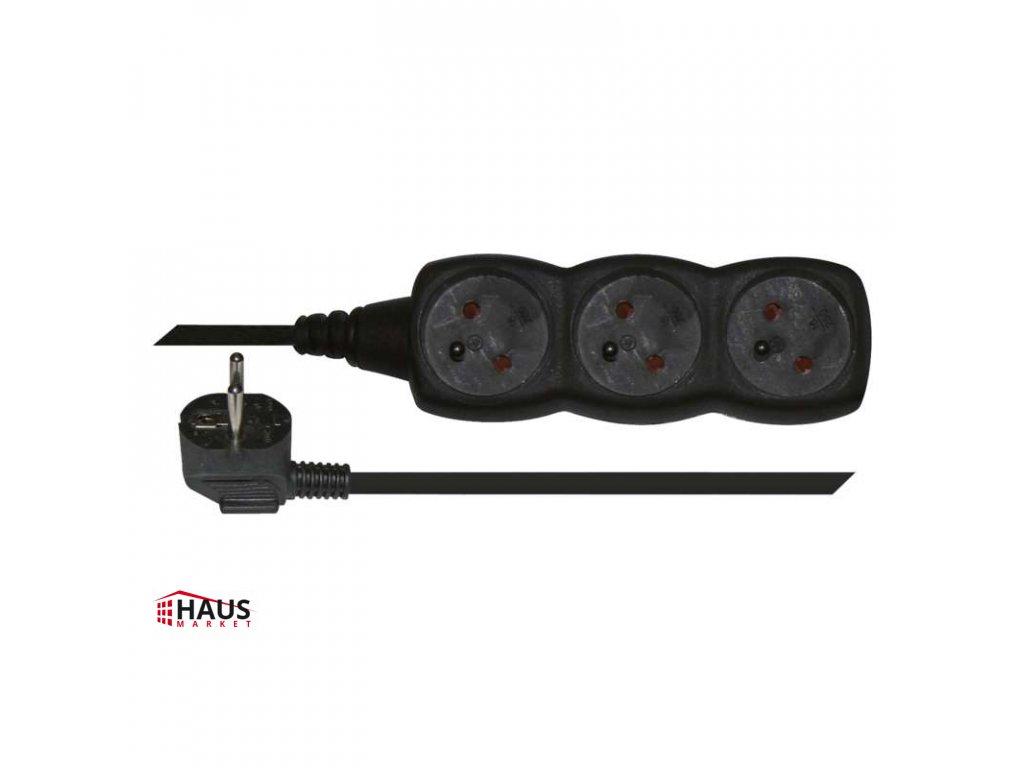 Predlžovací kábel – 3 zásuvky, 3m, čierny PC0313