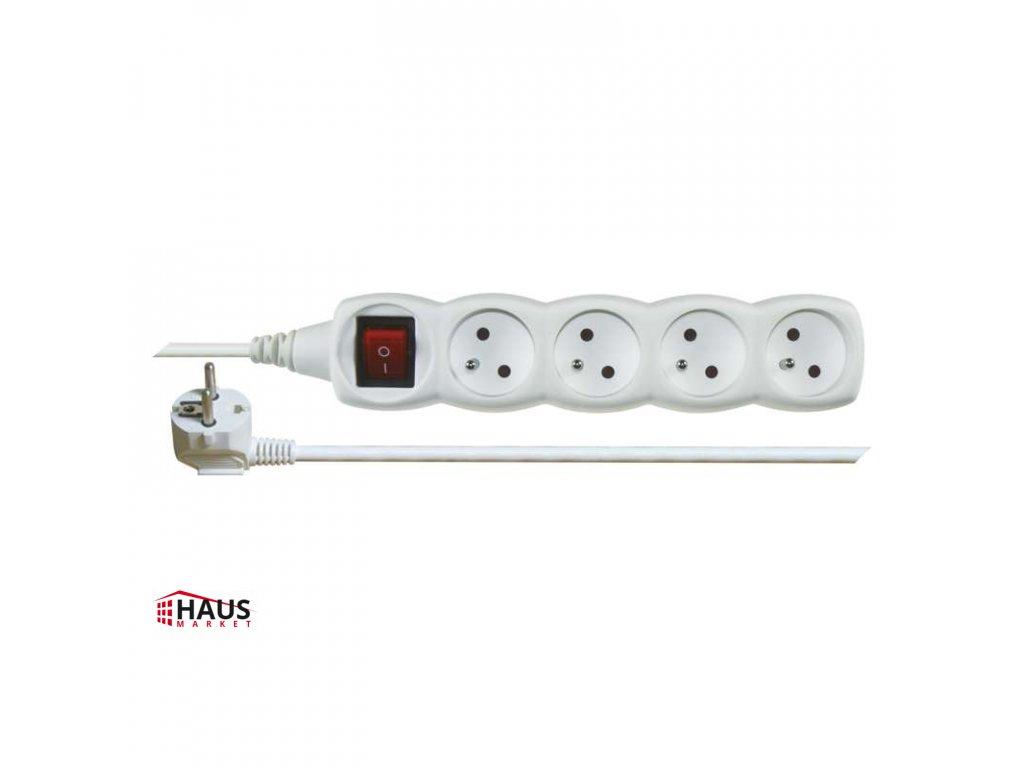 Predlžovací kábel s vypínačom – 4 zásuvky, 5m, biely P1415