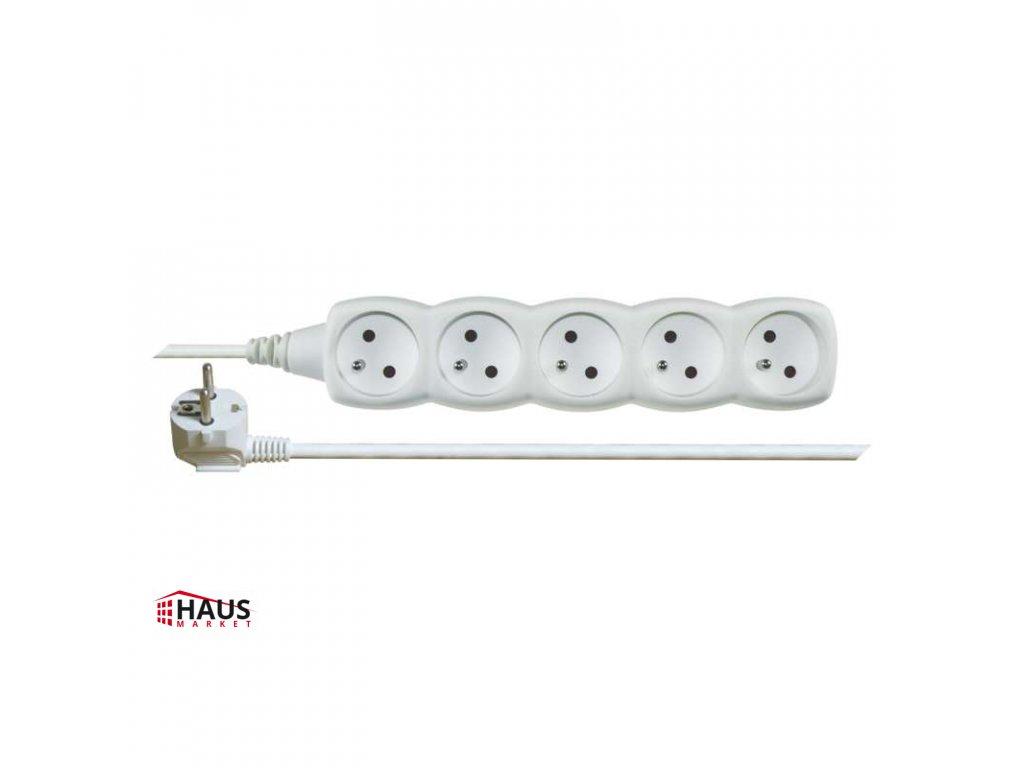 Predlžovací kábel – 5 zásuviek, 5m, biely P0515