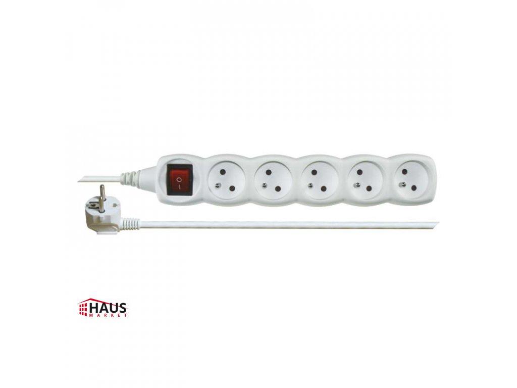Predlžovací kábel s vypínačom – 5 zásuvky, 5m, biely P1515