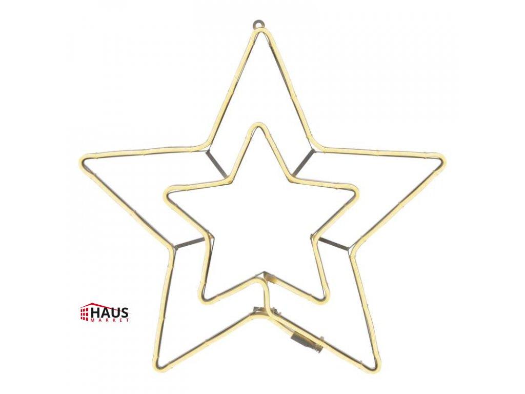 LED neónová hviezda dvojitá, vonkajšia, teplá biela, časovač ZY2237