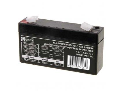 Bezúdržbový olovený akumulátor 6 V/1,3 Ah, faston 4,7 mm B9651