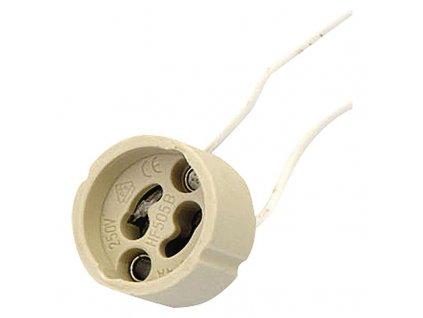 Objímka na žárovku GU10 keramická 250V/2A, biela A2946
