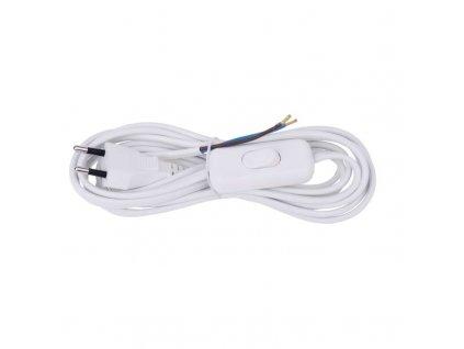 Flexo šnúra PVC 2× 0,75mm2 s vypínačom, 3m, biela S08273