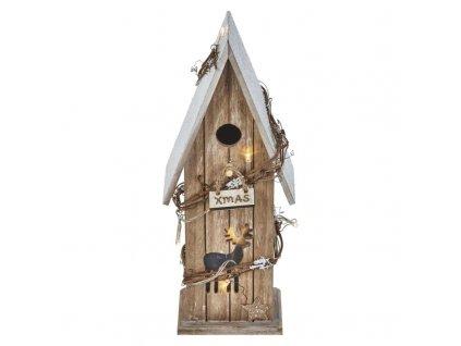 LED vianočný domek drevený, 33cm, 2× AA, teplá b., časovač ZY2084