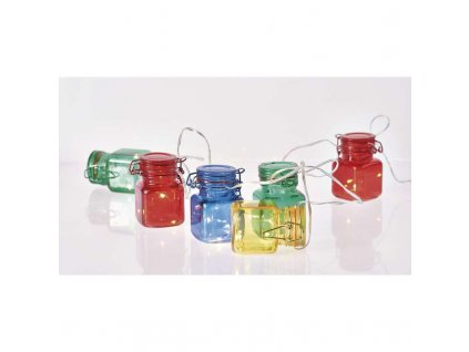 LED girlanda – 6× poháriky farebné, 3× AA, časovač ZY2132