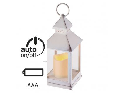 LED dekorácia – lampáš antik biely, 3× AAA, blikajúci, čas. ZY2114