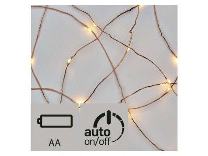 LED vianočná nano reťaz medená,0,9m, 2× AA, teplá b., čas. ZY2195
