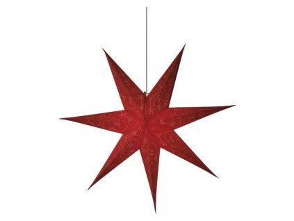 LED vianočná hviezda papierová červená, 75cm, 2× AA,teplá b. ZY2249