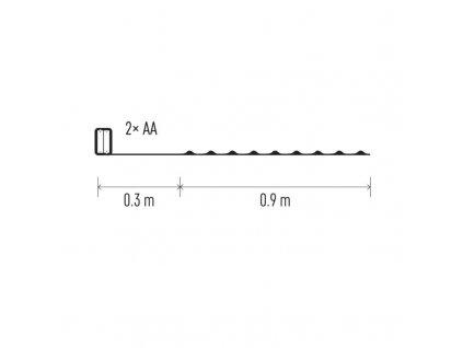 LED vianočná nano reťaz strieb., 0,9m, 2×AA, stud. b.,čas. ZY2196