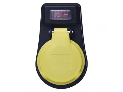 Zásuvka s vypínačom, IP44, čierna P00271
