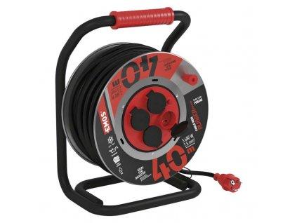 Guma-neoprén predlž. kábel, bubon kovový – 4z, 40m, 2,5mm2 P08440