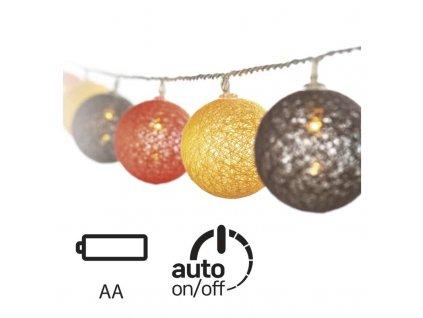 LED girlanda – gule bavlnené, jeseň, 2×AA, teplá biela, čas ZY1964