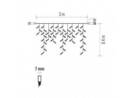 Profi LED spoj. reťaz preblikávajúca – cencúle 3m, s. biela ZY2287