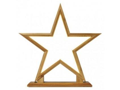 LED dekorácia - hviezda drevená, vnútorná, teplá biela ZY2359