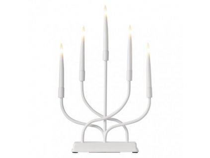 LED svietnik kovový biely, 2× AA, teplá biela, časovač ZY2336