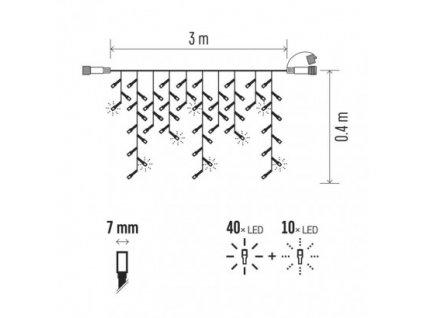 Profi LED spojovacia reťaz blikajúca - cencúle 3m, t/s biela ZY2305