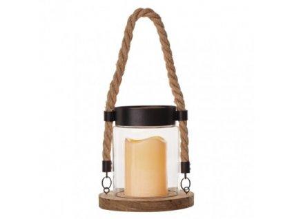 LED dekorácia - lampáš, sklo a drevo, 3× AAA, vintage ZY2340