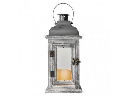 LED dekorácia - lampáš drevený, 3x AAA, sivý, vintage ZY2344