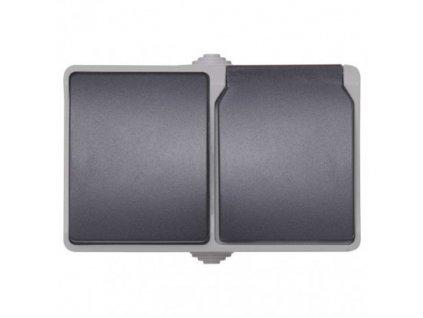 Zásuvka+prepínač striedavý č.6 IP44 french čierná A1397.4
