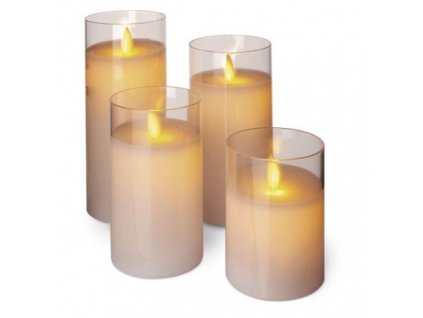 LED sviečky, 5×10/12,5/15/17,5cm, biele, 3× AAA, 4 ks ZY2274