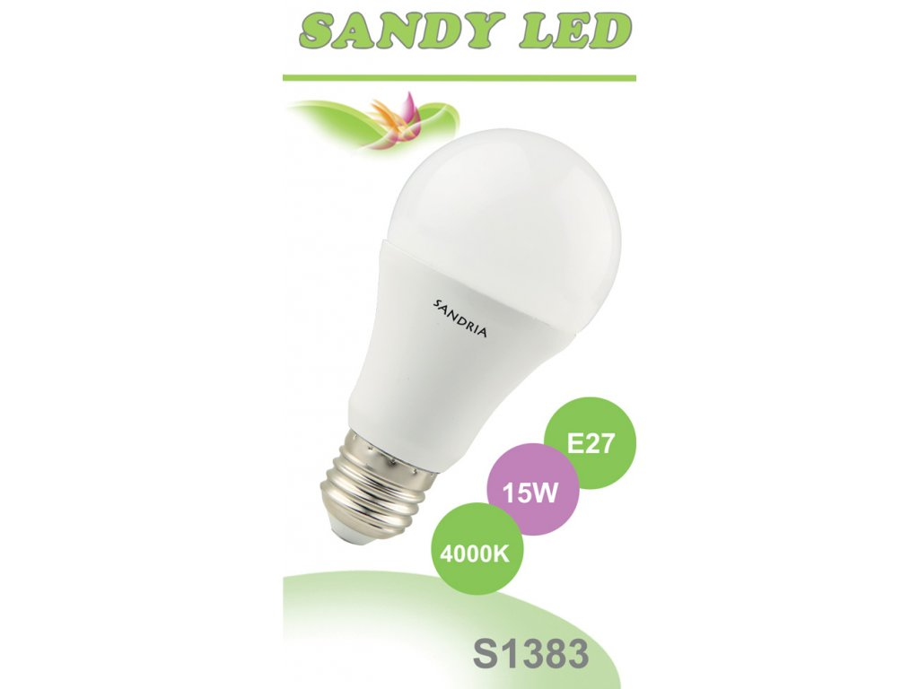 LED žárovka Sandy LED S1383 E27 A60 15W 4000K