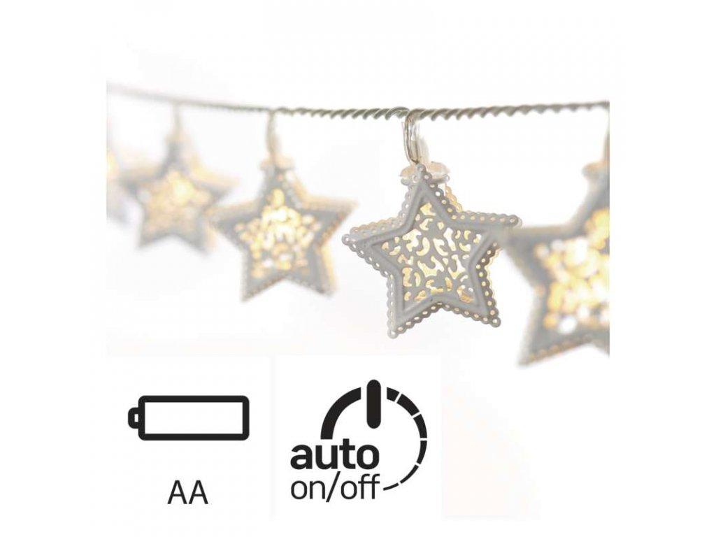 LED vánoční girlanda – bílé hvězdy, 3× AA, teplá bílá, čas.
