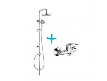 Sprchová souprava Lila - plastová hlavová sprcha a třípolohová ruční sprcha vč. sprchové baterie