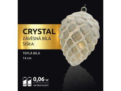 LED dekorace - závěsná bílá šiška Crystal 10 LED