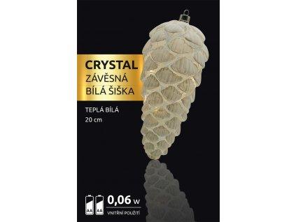 LED dekorace - závěsná bílá šiška Crystal 12 LED
