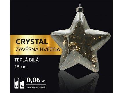LED dekorace - závěsná hvězda Crystal 12 LED