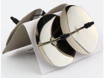 Bodec na svíčku kovový 5 cm, 4 ks leskle stříbrný
