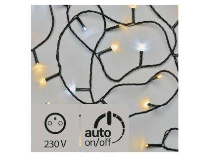 LED vánoční řetěz pulzující, 12m, studená/teplá bílá, čas.