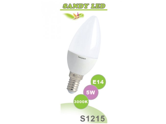 LED žárovka Sandy LED S1215 C37 5W 3000 K