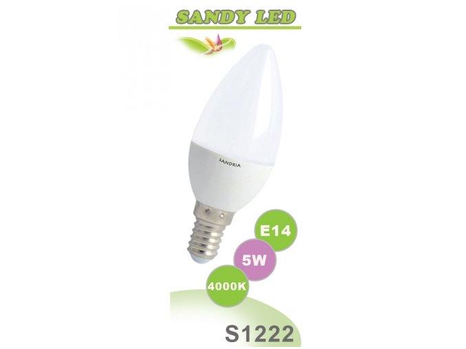 LED žárovka Sandy LED S1222 C37 5W neutrální bílá, 4000 K