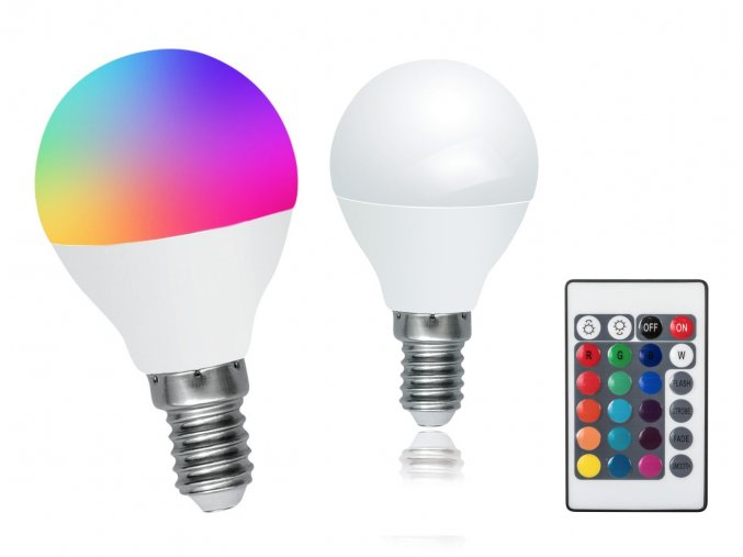 LED žárovka Rabalux 1505 - RGB 3,5W E14 s Dálkovým ovládáním