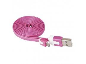 USB kabel 2.0 A/M - micro B/M 1m růžový