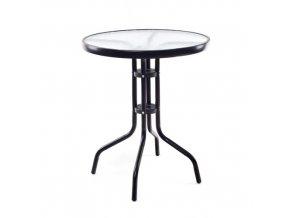 HAPPY GREEN Stůl kovový se skleněnou deskou 60 cm, černý
