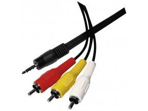JACK kabel 3,5mm 4 póly vidlice - 3x CINCH vidlice 1,5m