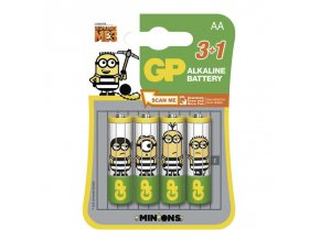 Alkalická baterie GP LR6 (AA), limit. edice MIMONI 3+1 ks