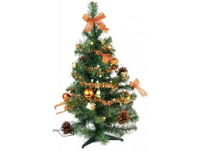 Stromek zdobený 60cm s 10 LED, měděný 17x54x17