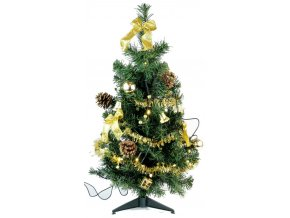 Stromek zdobený 60cm s 10 LED, zlatý 17x54x17