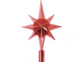 Špička na vánoční stromek červená, hvězda