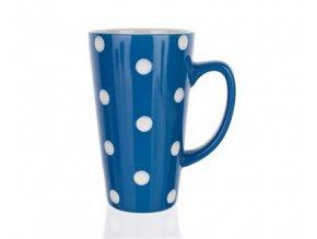 Hrnek keramický vysoký 450 ml, modrý s puntíky