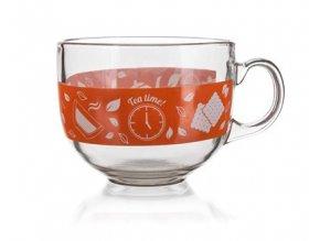 Hrnek jumbo skleněný MALAGA Tea Time 435 ml